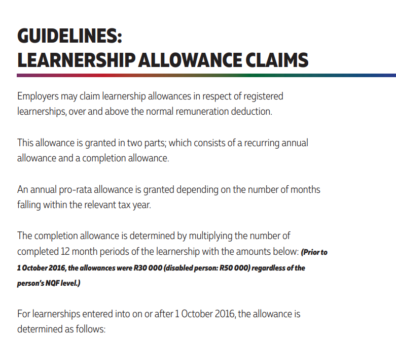 Learnership Allowance Claims Document Preview